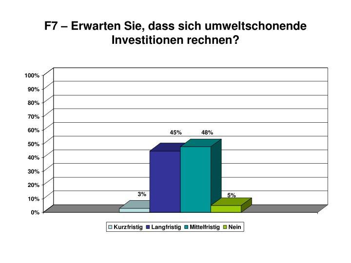 F7 – Erwarten Sie, dass sich umweltschonende Investitionen rechnen?