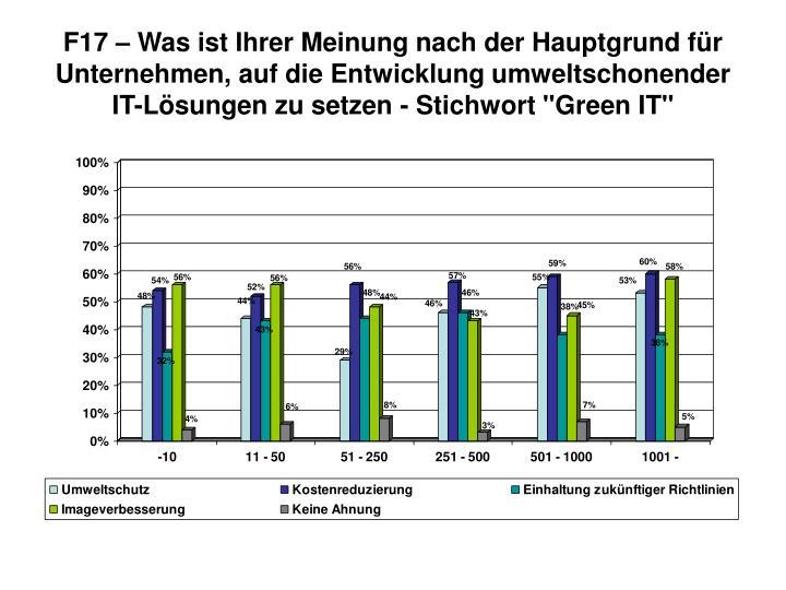 """F17 – Was ist Ihrer Meinung nach der Hauptgrund für Unternehmen, auf die Entwicklung umweltschonender IT-Lösungen zu setzen - Stichwort """"Green IT"""""""