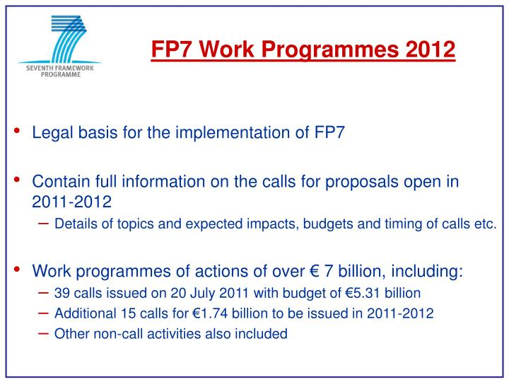 FP7 Work Programmes 2012
