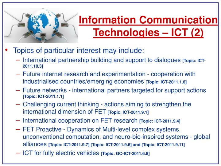 Information Communication Technologies – ICT (2)