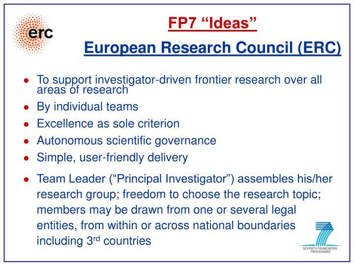 """FP7 """"Ideas"""""""