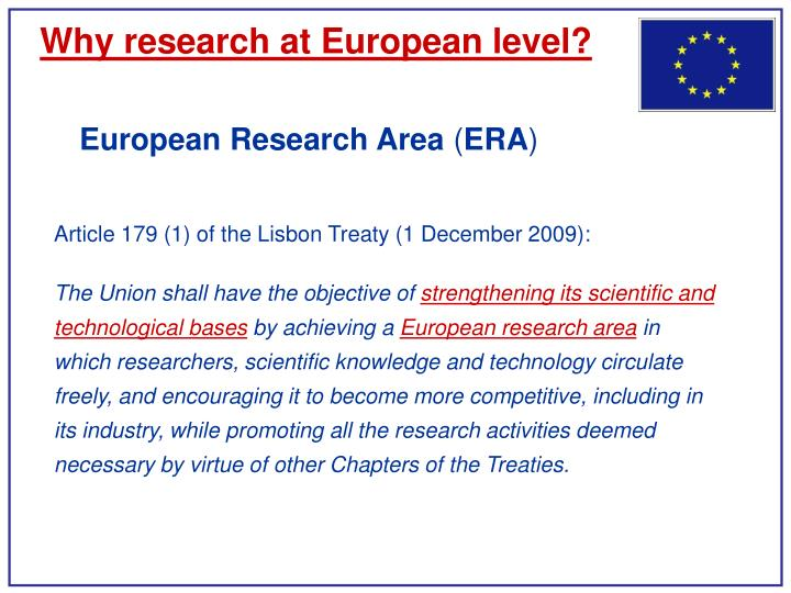 Why research at european level