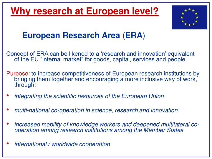 Why research at European level?