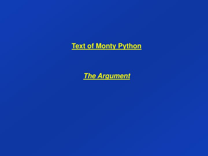 Text of Monty Python