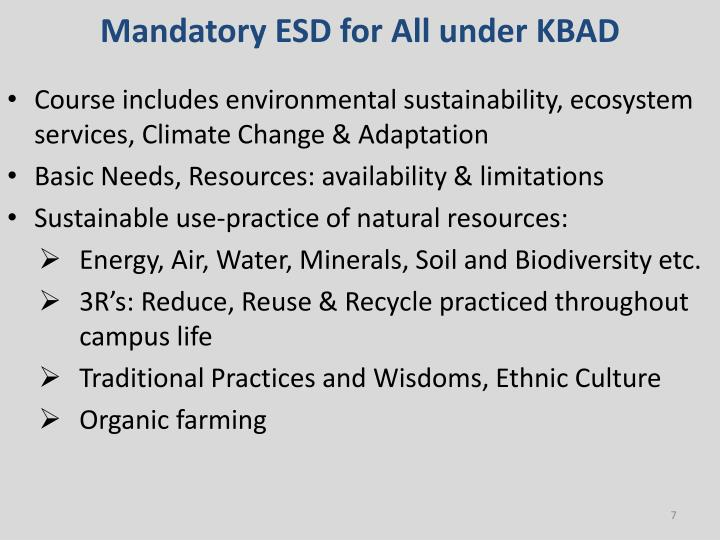 Mandatory ESD for All under KBAD