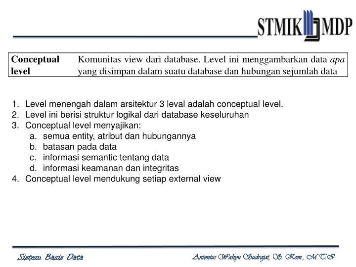 Level menengah dalam arsitektur 3 leval adalah conceptual level.