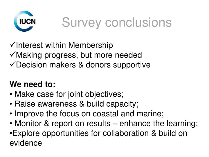 Survey conclusions