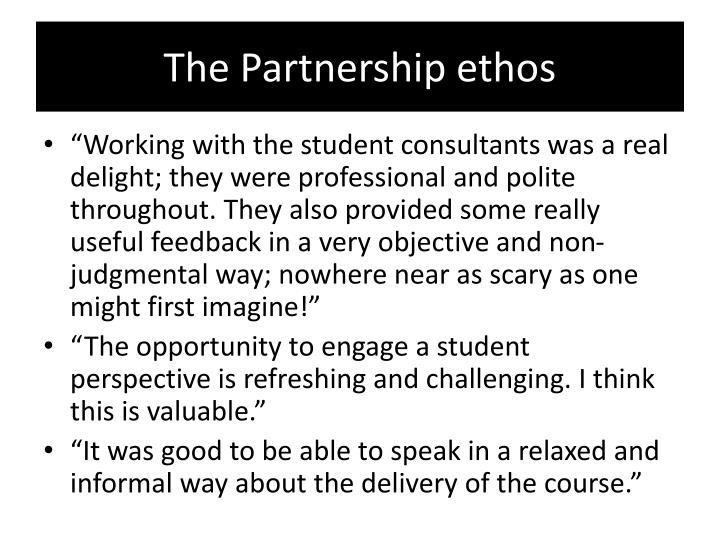 The Partnership ethos