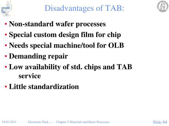 Disadvantages of TAB: