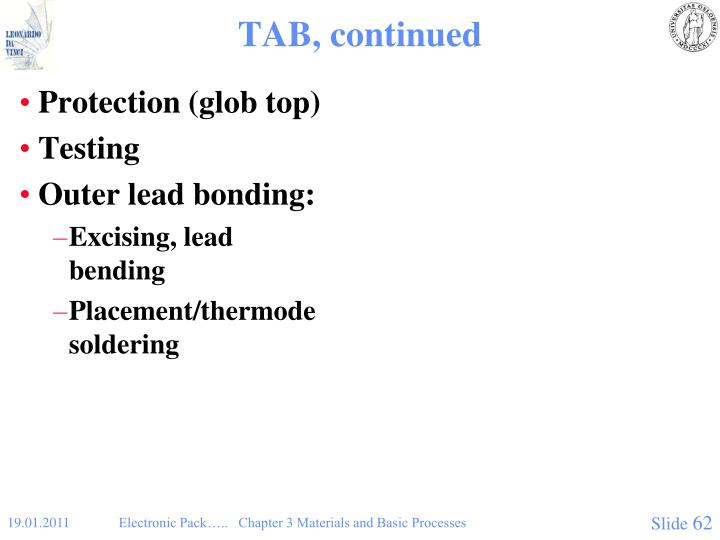 TAB, continued