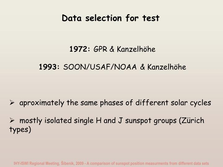 Data selection for test