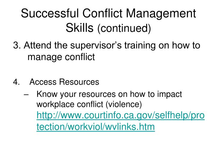 Successful Conflict Management Skills