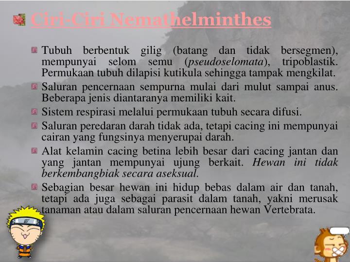 Ciri-Ciri Nemathelminthe