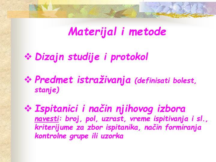 Materijal i metode