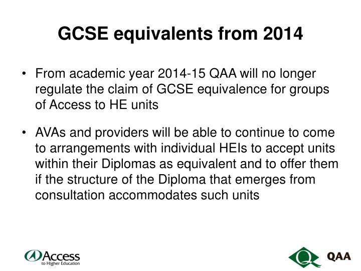 GCSE equivalents from 2014