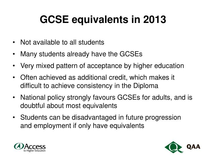 GCSE equivalents in 2013