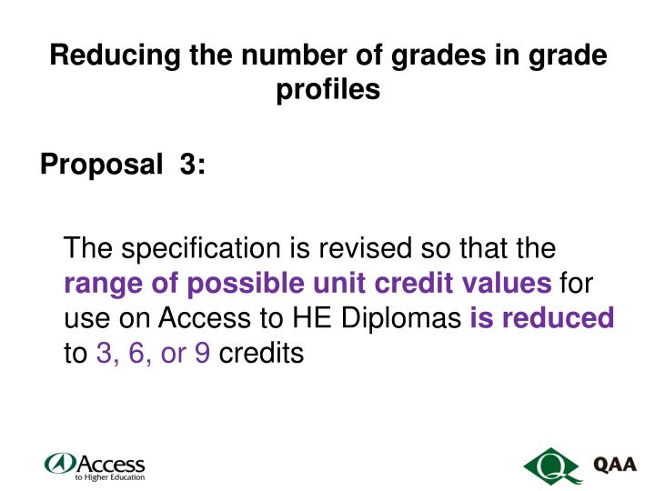 Reducing the number of grades in grade profiles