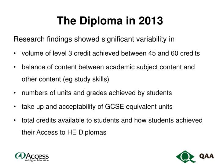 The Diploma in 2013