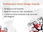 publieksprijs dutch design awards