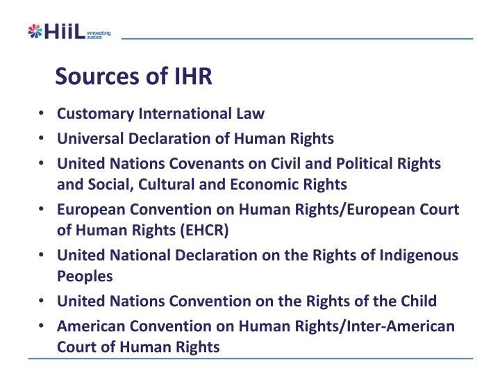 Sources of IHR