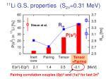 11 li g s properties s 2n 0 31 mev