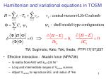 hamiltonian and variational equations in tosm