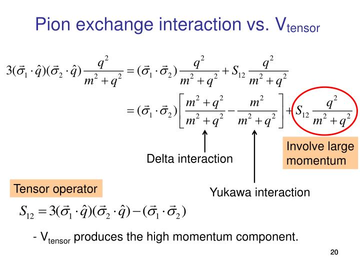 Pion exchange interaction vs. V