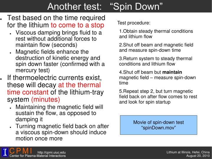 "Another test:   ""Spin Down"""