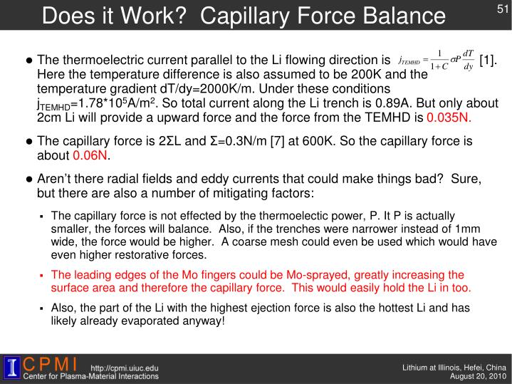 Does it Work?  Capillary Force Balance