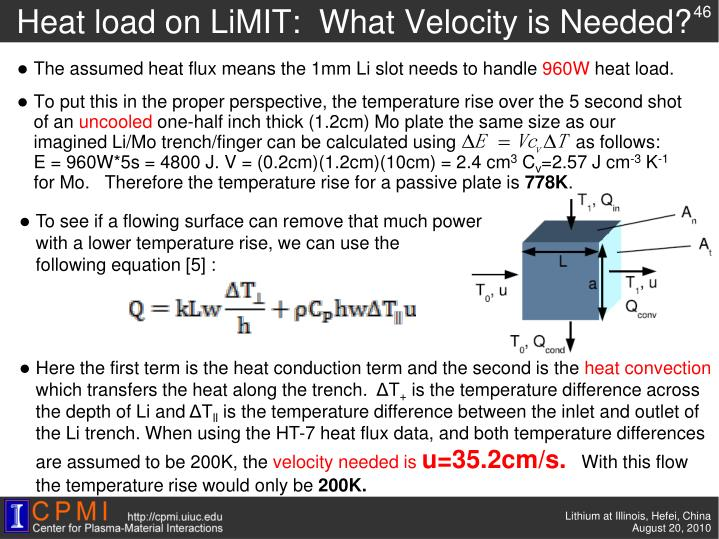 Heat load on LiMIT:  What Velocity is Needed?