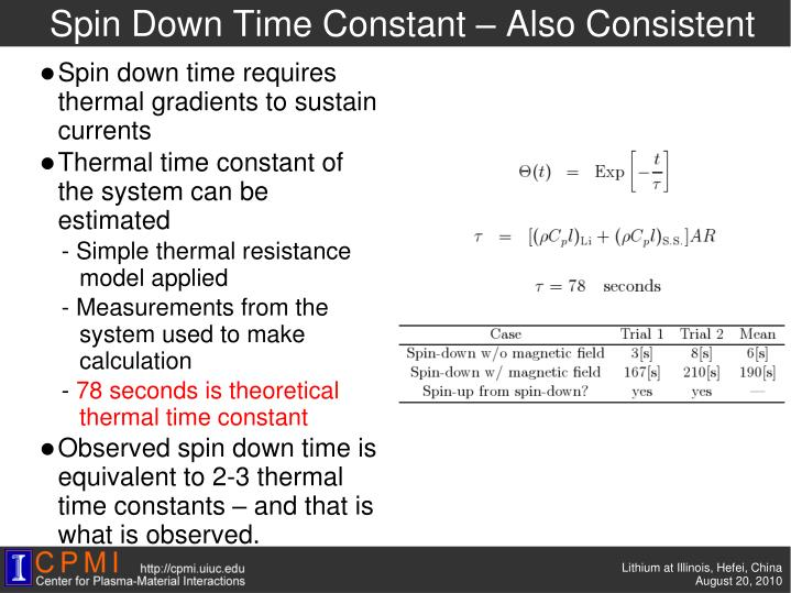 Spin Down Time Constant – Also Consistent