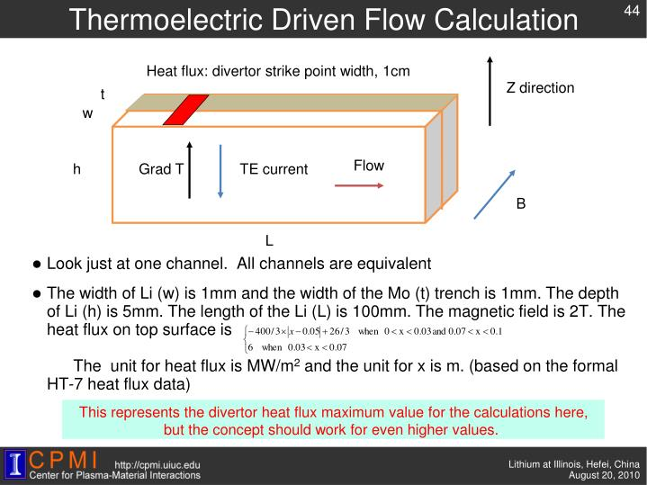 Thermoelectric Driven Flow Calculation
