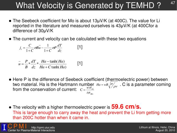 What Velocity is Generated by TEMHD ?