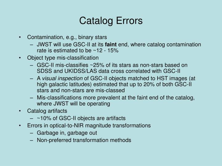 Catalog Errors