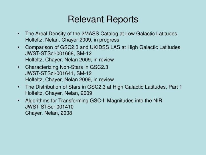 Relevant Reports