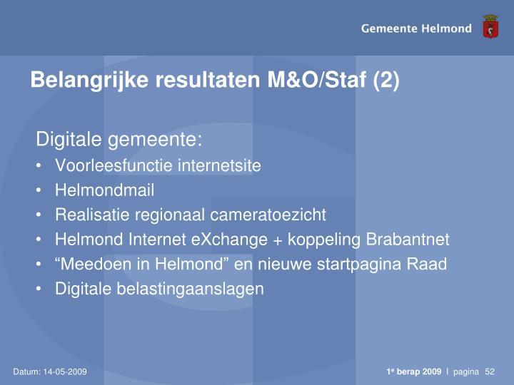 Belangrijke resultaten M&O/Staf (2)