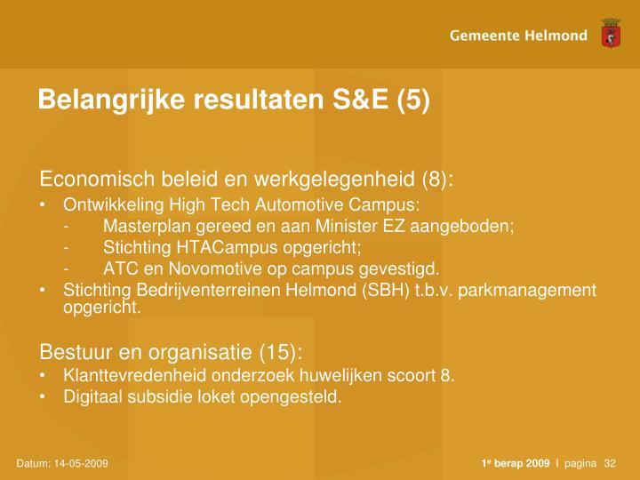 Belangrijke resultaten S&E (5)