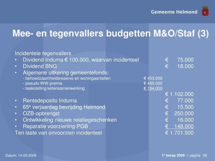 Mee- en tegenvallers budgetten M&O/Staf (3)