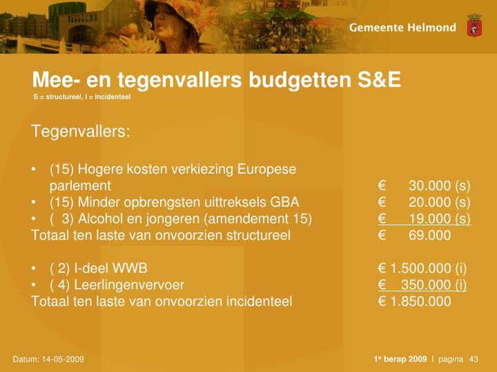 Mee- en tegenvallers budgetten S&E