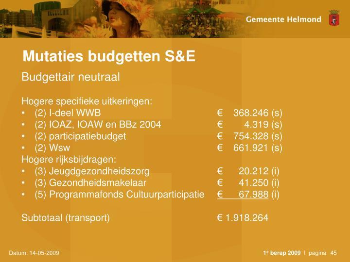 Mutaties budgetten S&E