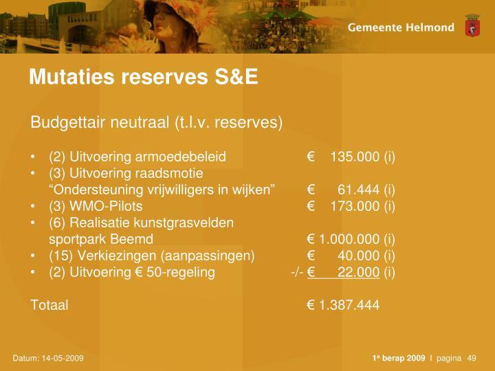 Mutaties reserves S&E