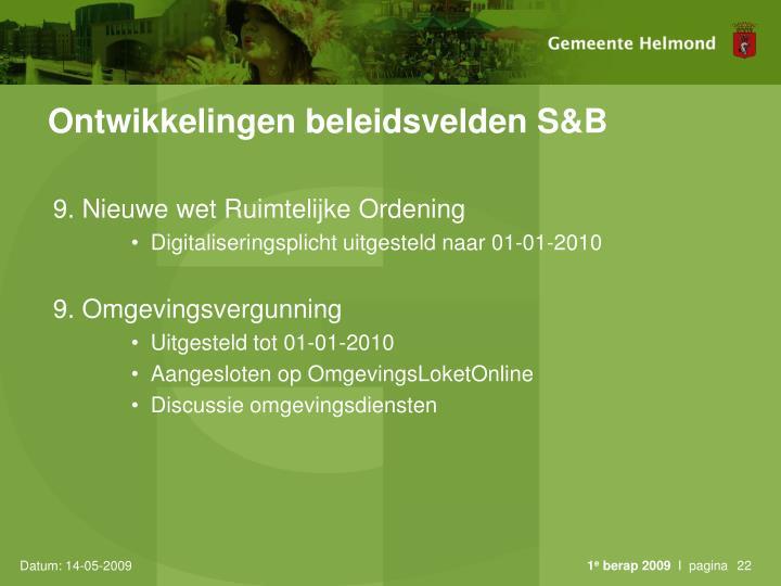 Ontwikkelingen beleidsvelden S&B