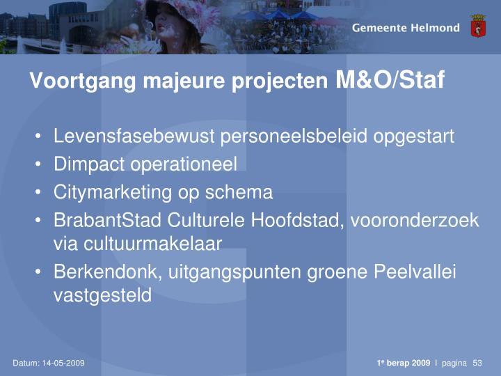 Voortgang majeure projecten