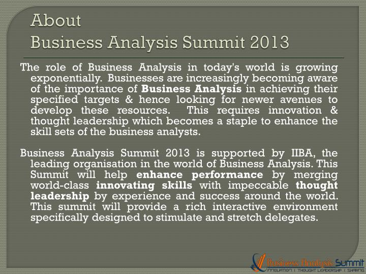 About business analysis summit 2013