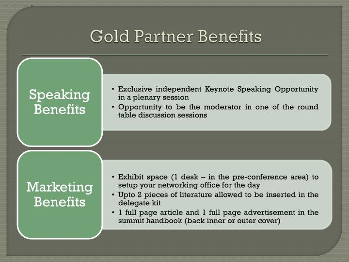 Gold Partner Benefits