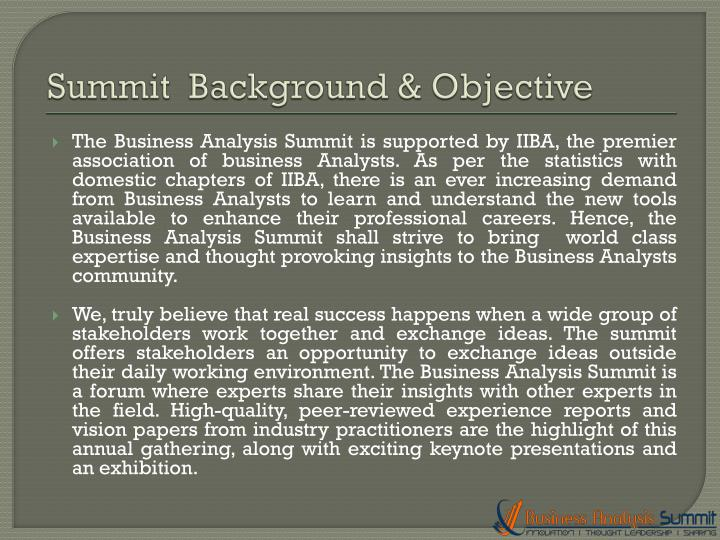 Summit background objective