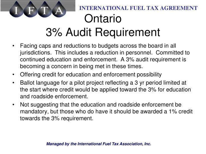 Facing caps and reductions to budgets across the board in all jurisdictions.  This includes a reduction in personnel.  Committed to continued education and enforcement.  A 3% audit requirement is becoming a concern in being met in these times.