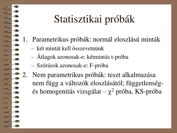 Statisztikai próbák