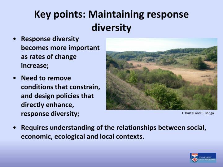 Key points: Maintaining response diversity