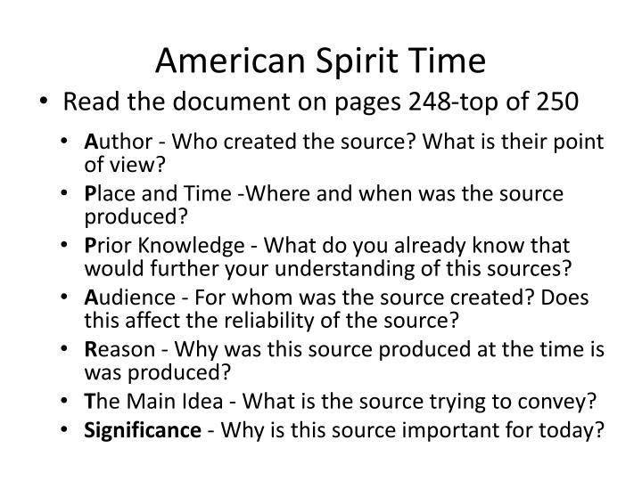 American Spirit Time